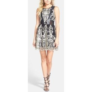 ASTR Gold and Black Brocade Mesh Party Dress